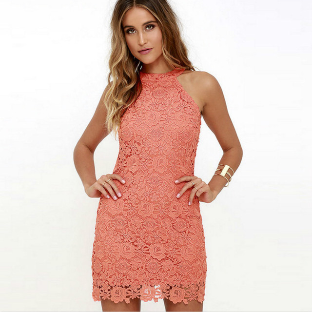 2018 Dress Hanging Neck Self-cultivation Pencil Sexy Sleeveless Short Lace Women Summer Party Christmas Suit-dress Dresses Oodji