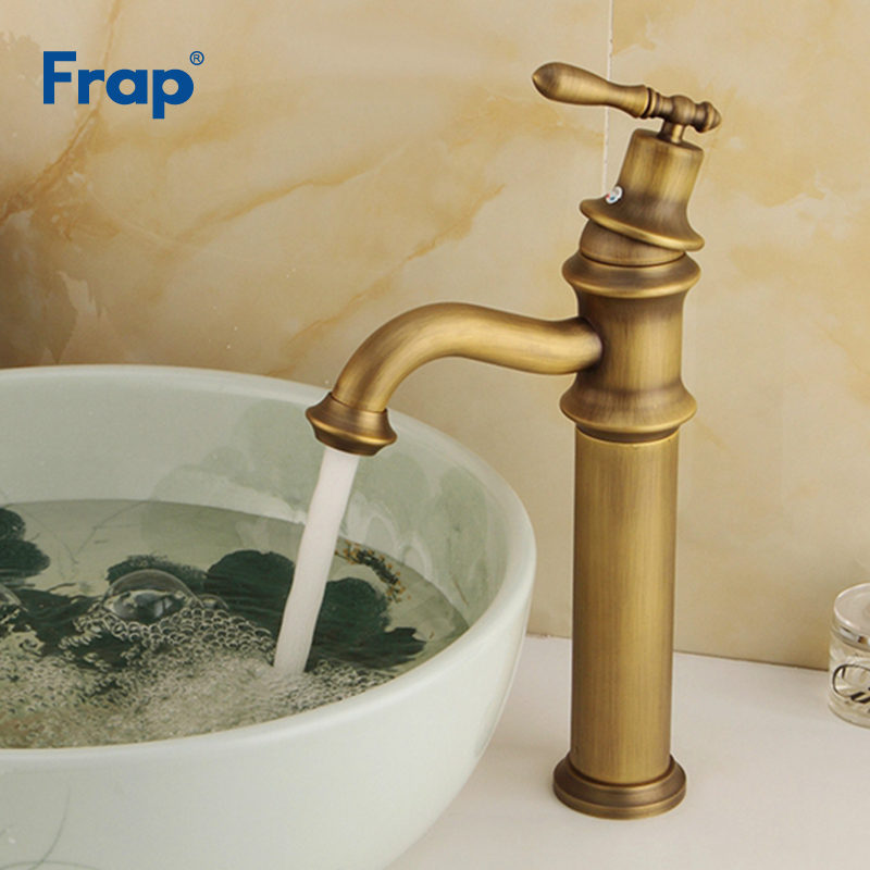 цена на Frap Basin Faucets Hot and Cold Tap Antique Brass Mixer Solid Copper Deck Mounted Sink Faucet Bathroom torneiras banheiro Y10068