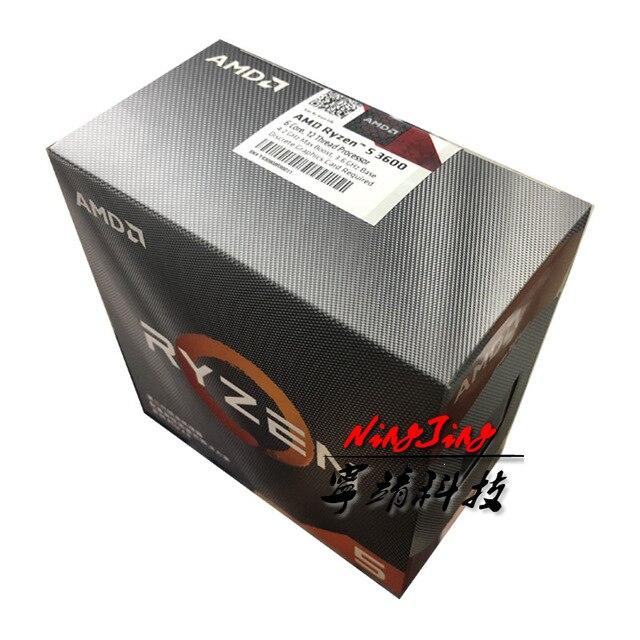 AMD Ryzen 5 3600 R5 3600 3.6 GHz 6 코어 12 스레드 CPU 프로세서 7NM 65W L3 = 32M 100 000000031 소켓 AM4 신규 및 팬 포함