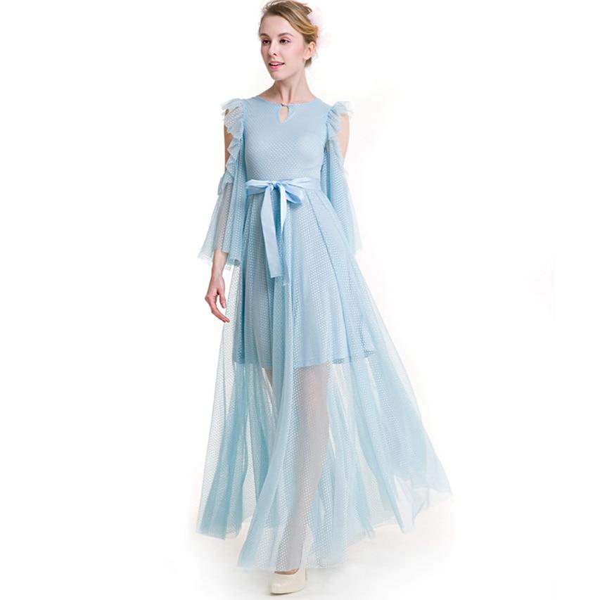 New design long lace dress gap flare sleeve mesh O neck ruffles big swing patchwork dress elegant vestidos plus size