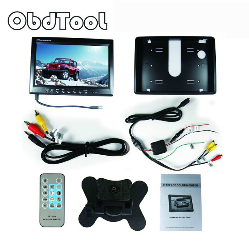 ObdTooL 9 TFT LED Display Car Rear View Monitor Parking Rearview System 9 inch for Backup Reverse Camera DVD VCD Auto TV LR10 2 4ghz wireless car rear view monitor 5 inch tft lcd 800 x 480 car rearview parking monitor auto car backup reverse camera