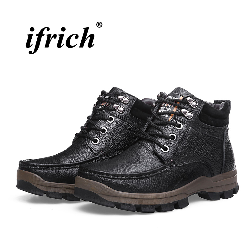 Plus Size Man Boots Outdoor Sneakers Size 38-48 Men Hiking Shoes Black Brown Mens Winter Fur Sneakers Comfortable Hunting Boots цена
