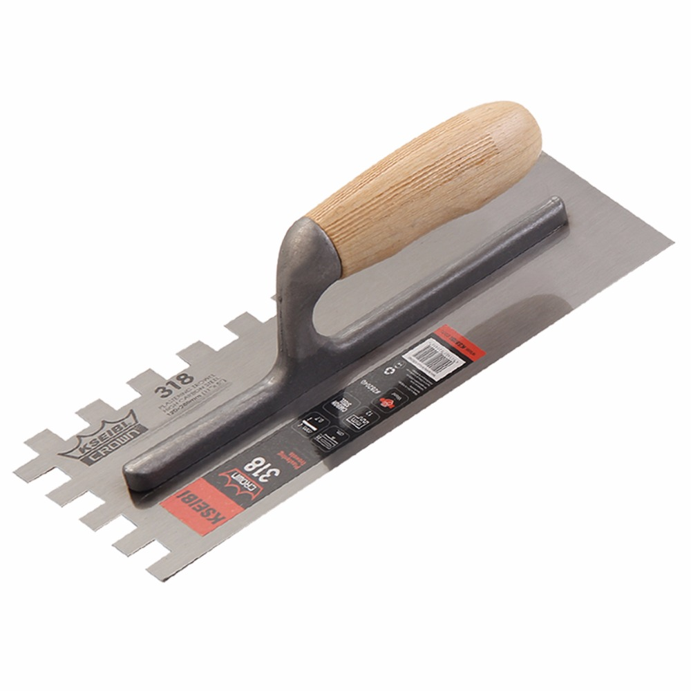 KSEIBI 28x12cm Plastering Finishing Trowel Steel Blade Wood Handle Notched Square 12x12mm Finishing #282040