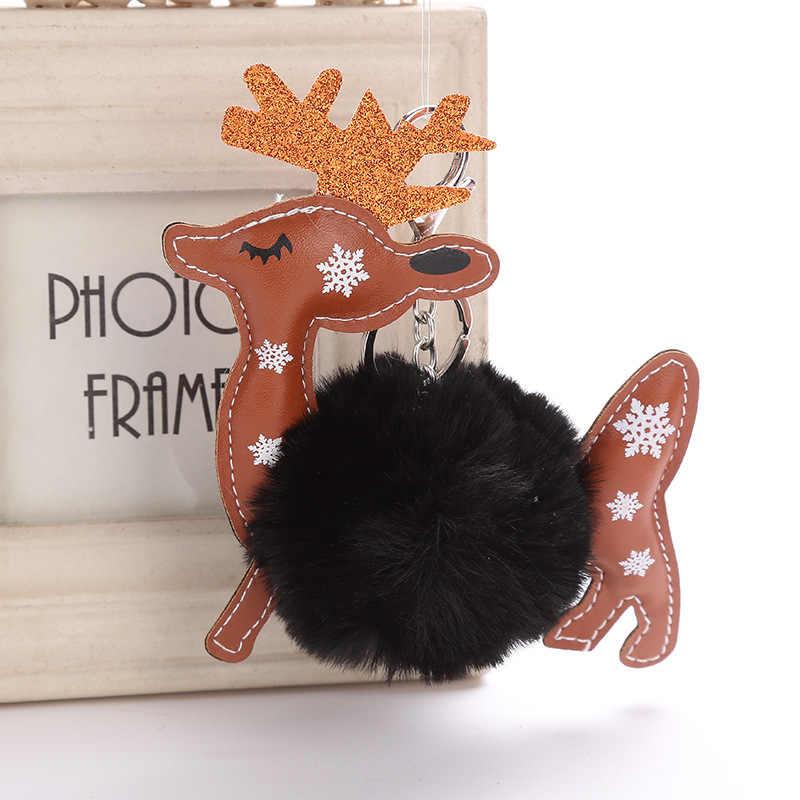 Брелок с помпоном в виде оленя милый пушистый искусственный кроличий мех мяч ключевое звено птица женская сумка для автомобиля брелок оптовая продажа