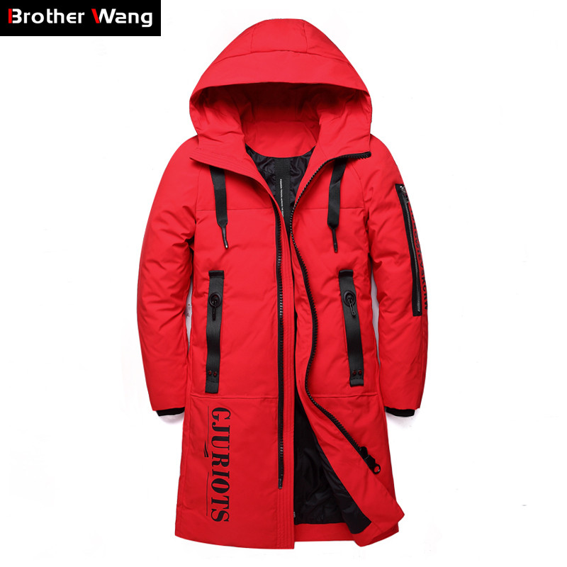 2019 New Men's Clothing Winter Warm   Down   Jacket Hooded Thick Long Slim Duck   Down     Coat   Male Red Black Brand Clothes Plus Size 5XL