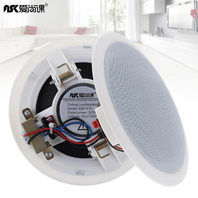 2pcs/lot ASK-515 5 Inch 5W Fashion Microphone Input USB MP3 Player Ceiling Speaker Public Broadcast Background Music Speaker