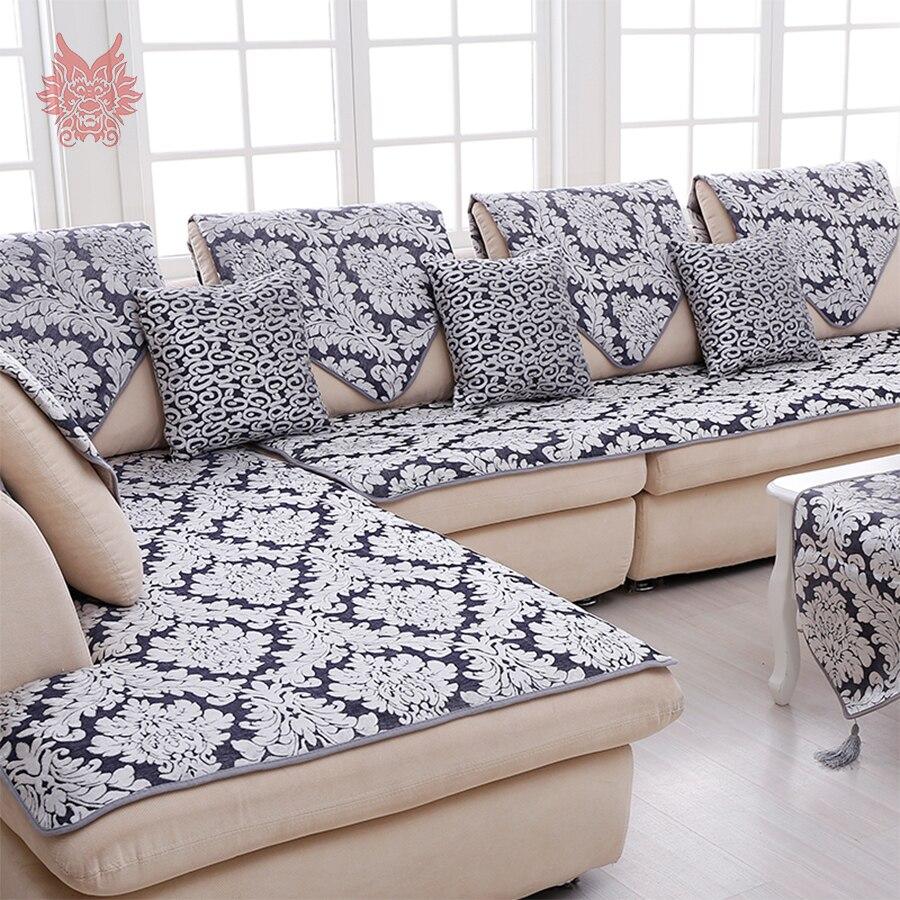 Europe Style Grey Floral Jacquard Terry Cloth Sofa Cover Plush Sectional  Couch Slipcovers Cheap Capa Para Fundas De Sofa SP3768