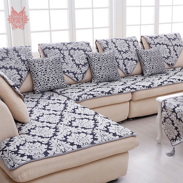 Europe style grey floral jacquard terry cloth sofa cover