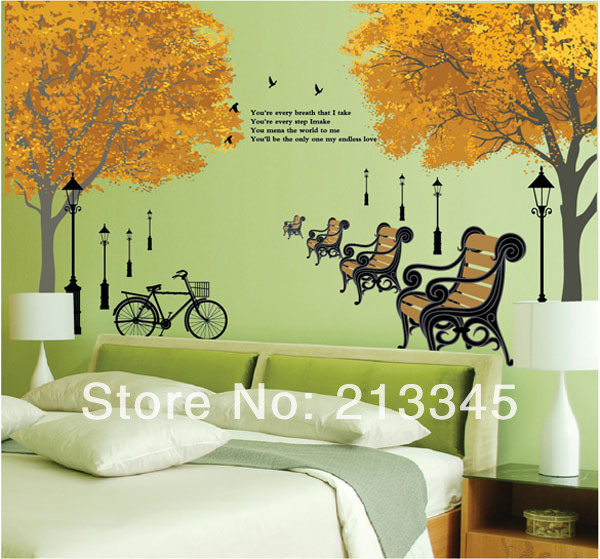 Us 6 71 15 Off Fundecor Modern Decor Wall Decals Bedroom Living Room Clic Maple Leaf Gold Removable Family Tree Mural 9019 In