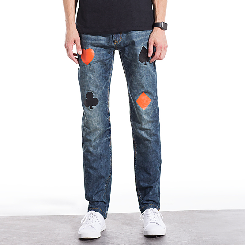 Comfortable mens Jeans cotton poker printing patterns decoration men jeans high quality straight denim casual jeans men