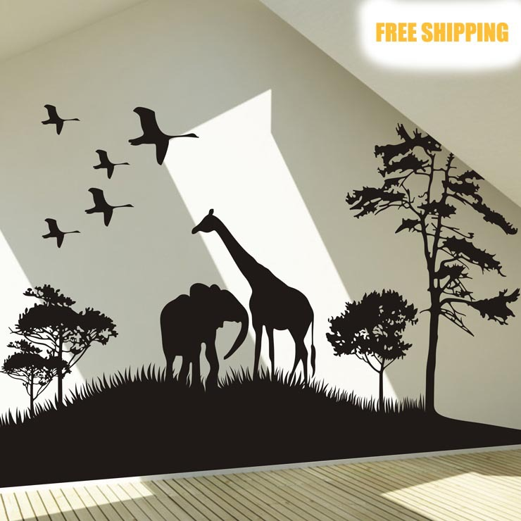 Genial Big Size Safari Africa Animals Wall Sticker Elphant Tree Grass Wall Decal  Giraffe Animal Room Wall Sticker Home Decorative Decor In Wall Stickers  From Home ...