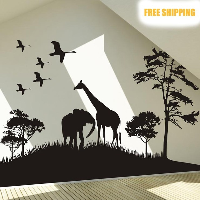 Aliexpresscom  Buy Big Size Safari Africa Animals Wall Sticker - Wall decals animals