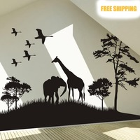 Free Shipping Wholesale And Retail Safari Africa Animals Wall Stickers Wall Decals Wall Covering Home Decor