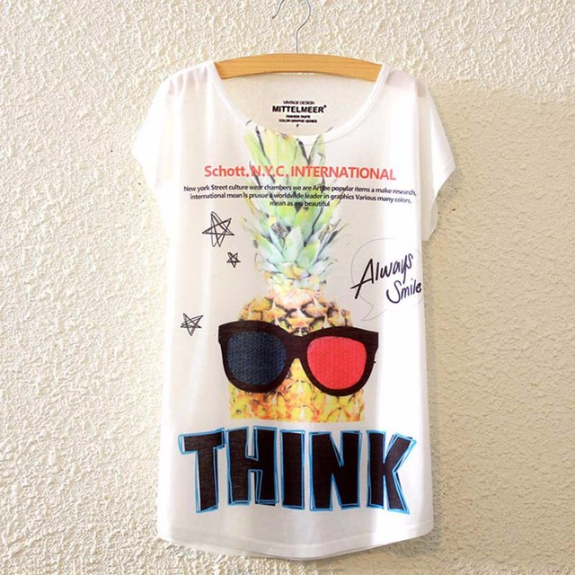 d08637b3 2017 Brand New Polyester T-Shirt Women Short Sleeve t-shirt o-neck Causal  loose pineapple t shirt Summer tops for women