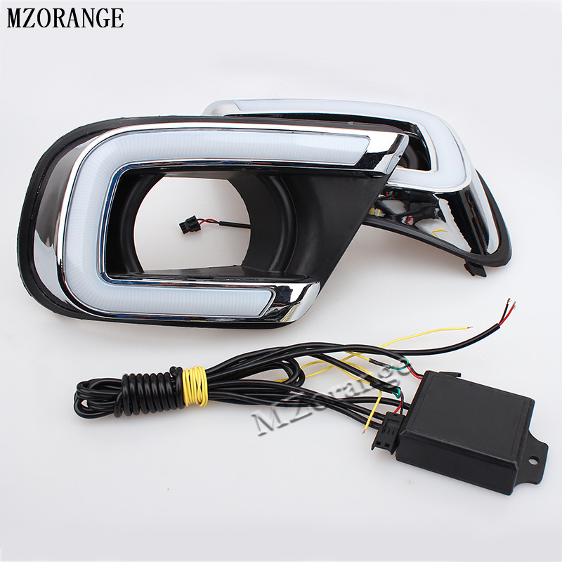 MZORANGE LED Car DRL Turn Signal style Relay Daytime Running Light with fog Lamp hole For Dodge Journey 2014 2015 2016