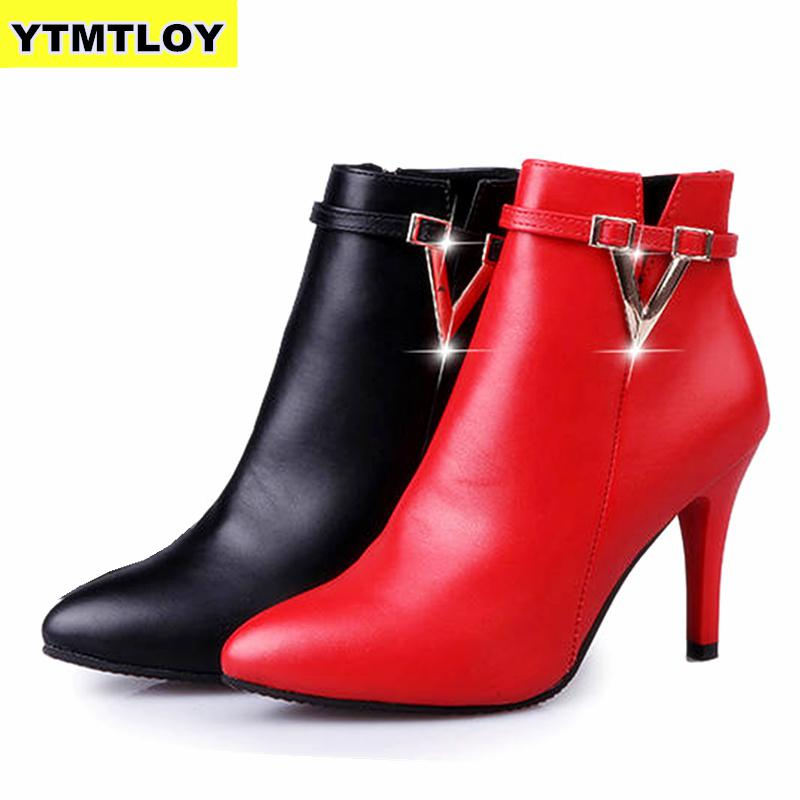 HOT Autumn Stiletto Thin High Heels Zipper Style Sexy Womens Boots Bota Feminina  Pointed Toe Faux Leather Green  Ankle Boot