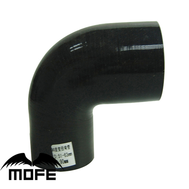 """MOFE Black 51mm to 57mm/60mm/63mm/70mm/76mm Silicone 90 Degree Elbow Reduce Hose/2"""" inch to 2.24"""" inch/2.36""""/2.76""""/3""""inch Hose"""