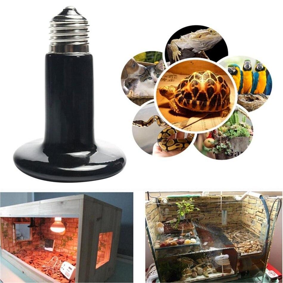 Pet Ceramic Heating Lamp 25W 50W 75W 100W 150W 200W IR Infrared Heat Emitter Bulb Black For Reptile Pet Brooder 110V-120V pet light infrared ceramic heat emitter lamp bulb for reptile amphibian warmer glow brooder 100w new