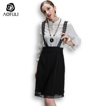f40b97283a6019 AOFULI Plus Size Tops Skirt Two Piece Set Long Sleeve Blouse Shirt Lace  Strap Skirt Twinset Office Lady Outfit S- XXXXL 5XL 3008