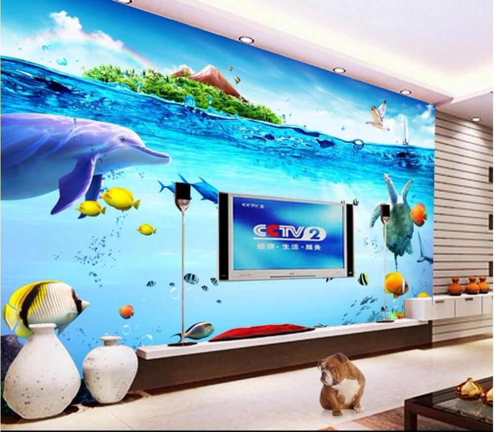 Custom mural 3d wallpaper ikan laut pulau dekorasi rumah lukisan gambar 3d mural dinding wallpaper untuk ruang tamu dinding 3 d di wallpaper dari perbaikan