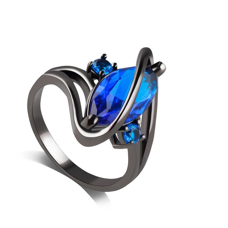 Sue Phil Cubic Zirconia Blue Rings black gun plated women wedding environmental Rings charming jewelry For