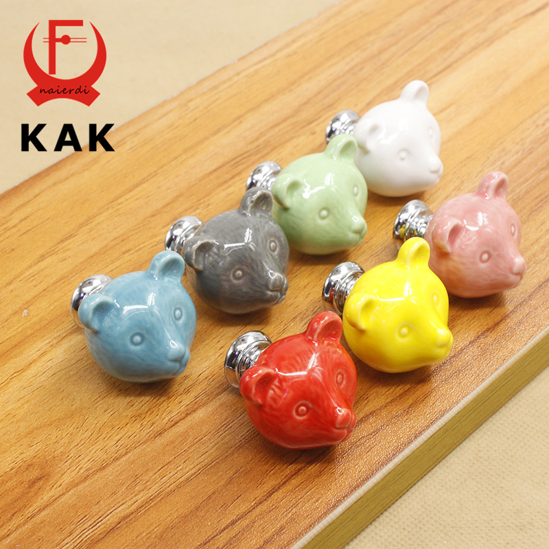 KAK Ceramic Bear Drawer Knobs 3D Cartoon Cabinet Cupboard handles Novelty Creative 7 color Fashion Furniture Handles Hardware
