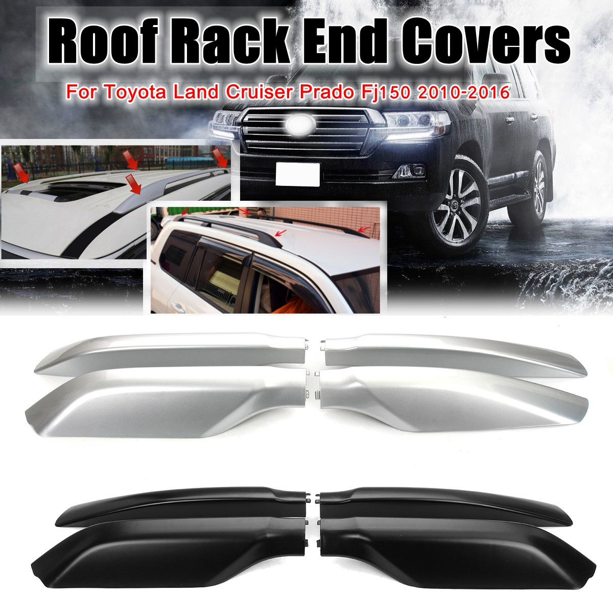 4pcs Roof Rack End Cover Cap Bar Rail Protection Replacement Shell for Toyota Land Cruiser Prado