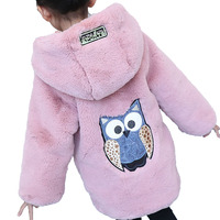 Autumn Winter Baby Girl Clothes Faux Fur Fleece Owl Coat Warm Jacket Snowsuit 4 14T Baby Girls Hooded Toddler Kid Outwear