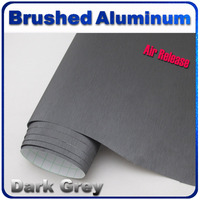 Quality Guarantee Dark Grey Brushed Aluminum Foil Film Car Color Change Wrap Sticker with Air Bubble Release Size:1.52*30m/roll