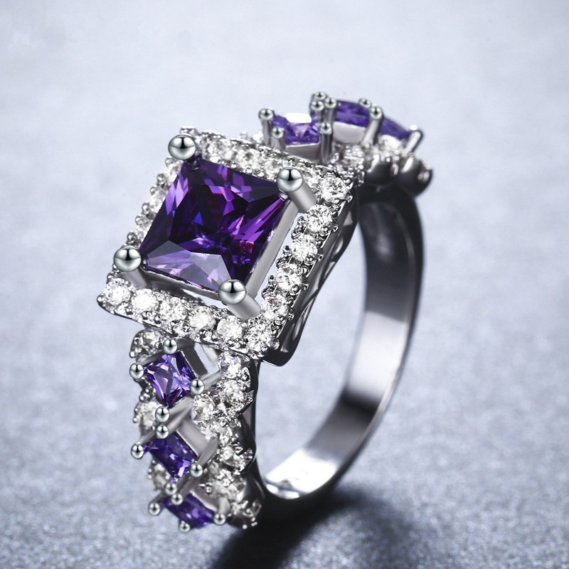 H:HYDE 3 Design Big Purple Stone Wedding Rings for Women AAA Zircon Jewelry Engagement Bague Size 6 7 8