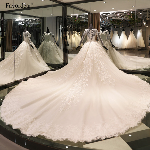 Luxury 4m Train Wedding Dress Top Vestido De Noiva Cathedral Train Full Sleeve 3D Lace Beaded Ball Gown Bridal Gown