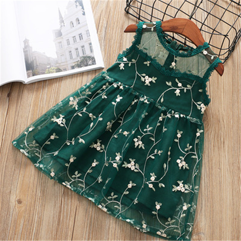 Hurave crew neck embroidery lace sleeveless mesh princess baby Girl clothes Summer Kids Clothes Casual dresses