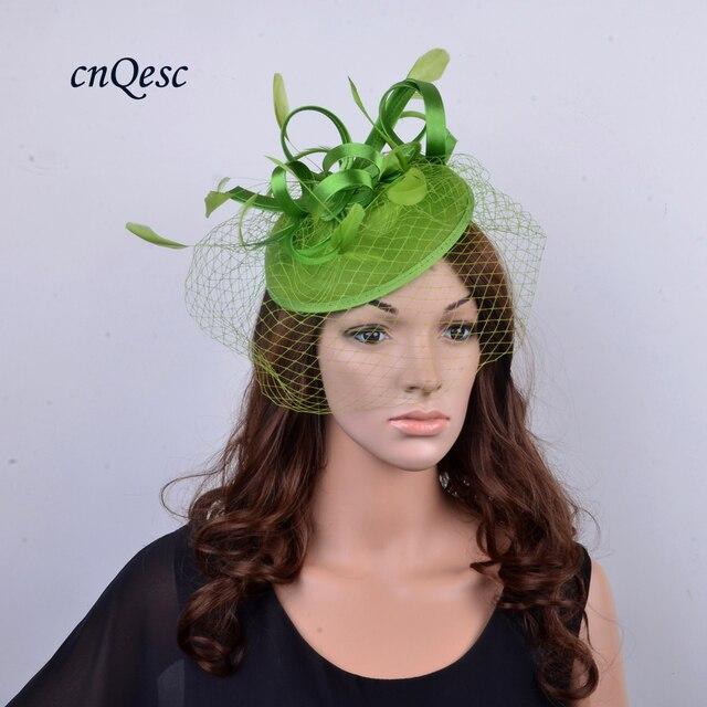 NEW Khaki green Wool felt Fascinator Hat veiling fascinator sinamay hat for  Weeding 5c2a399d3c2