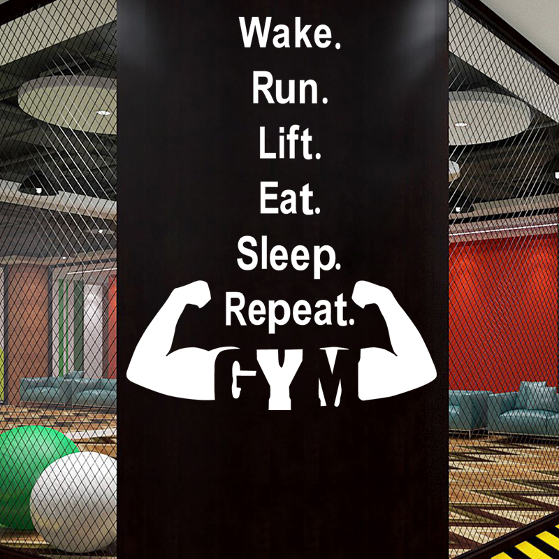 Gym Sticker font b Fitness b font Arm Crossfit Muscle Decal Body building Posters Vinyl Wall