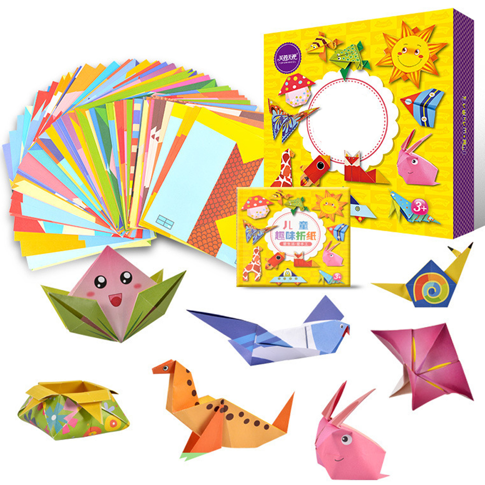 108pcs Children Paper Folding Handmade Craft Toy 3D Origami Book DIY Manual Paper-cut Creative Educational Toys For Children