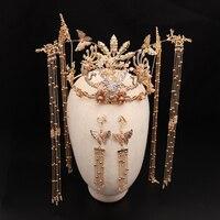 Alloy Handmade Long Tassel Vintage Brides Hair Accessories Chinese Classical Wedding Headdress Jewelry Hair Combs Hairwear