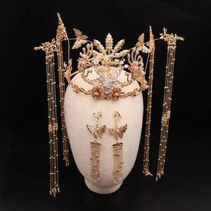 Stop ręcznie długi Tassel Vintage panny młode akcesoria do włosów chiński klasyczny stroik ślubny biżuteria grzebienie do włosów do włosów