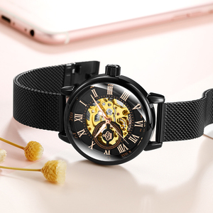 Image 5 - ローズゴールド女性の自動機械式スケルトン腕時計メッシュステンレス鋼ファッションカジュアル女性腕時計ギフト女性のための
