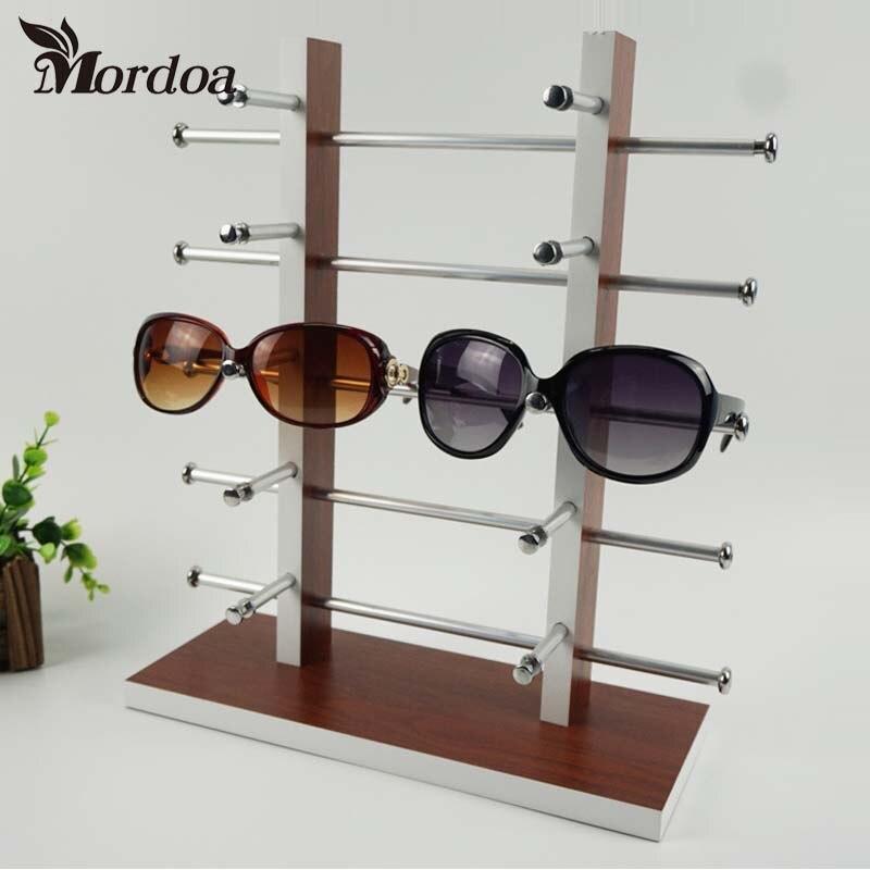 Mordoa 2 Row 10 Pairs of Eyeglasses Sunglasses Glasses Display Stand Holder Rack Glasses Jewelry Display Shelf mordoa wholesale rotating white plastic sunglass display stand holder glasses rack for 28 pairs