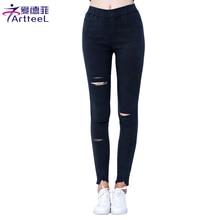 Vintage Cotton Womens Torn Imitation Jeans Ripped Hole Knee Skinny Pencil Pants Elasticity Slim Leggings For Women