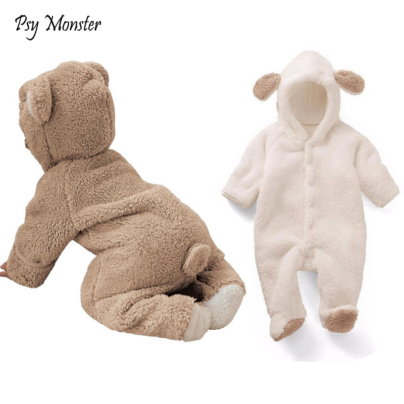 Baby girl   romper   Coverall animal style baby boy warm clothes newborn baby outside in winter climbing   Romper   suits padded C149