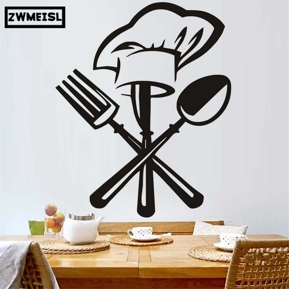 Chef Hat Flatware Fork Spoon Vinyl Wall Sticker Pattern Black Hollow Out Design Dining Room Decor Kitchen Decals Art Poster