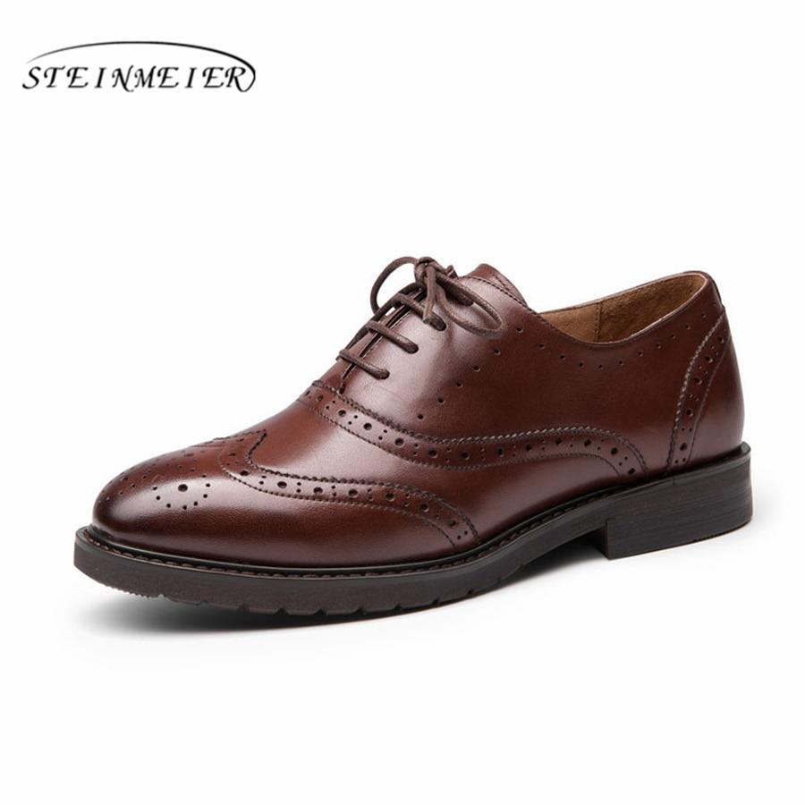 Yinzo 여성 플랫 옥스포드 신발 여성 정품 가죽 스니커즈 레이디 brogues 빈티지 캐주얼 신발 여성 신발 2019 봄-에서여성용 플랫부터 신발 의  그룹 1