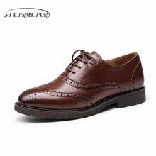 Yinzo femmes chaussures plates Oxford chaussures femme en cuir véritable baskets dame richelieu Vintage chaussures décontractées pour chaussures pour femmes 2020 printemps