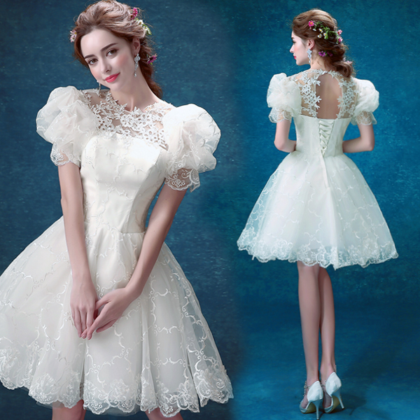 Sweet Lovely Cap Sleeves Lace Backless Short Style Ball Gown Bridesmaid Dress 336
