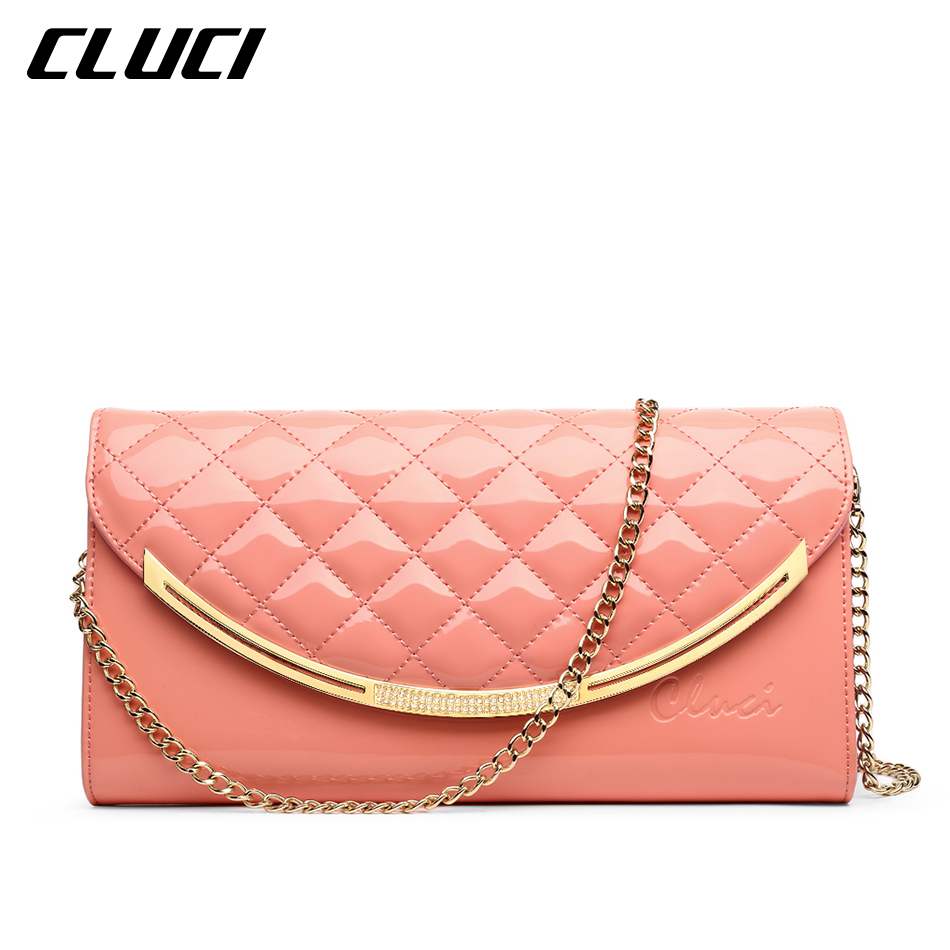 ФОТО CLUCI Women Shoulder Bags Patent Leather Plaid Blue/Pink/Yellow/Green Envelope Shoulder Crossbody Bags for Evening Clutches