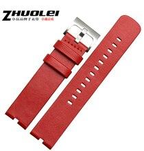 ดูวง22มิลลิเมตรสีแดง100% Leaherแท้Watch Bandsวงสายสร้อยข้อมือสำหรับMotorola Moto 360สมาร์ทดู