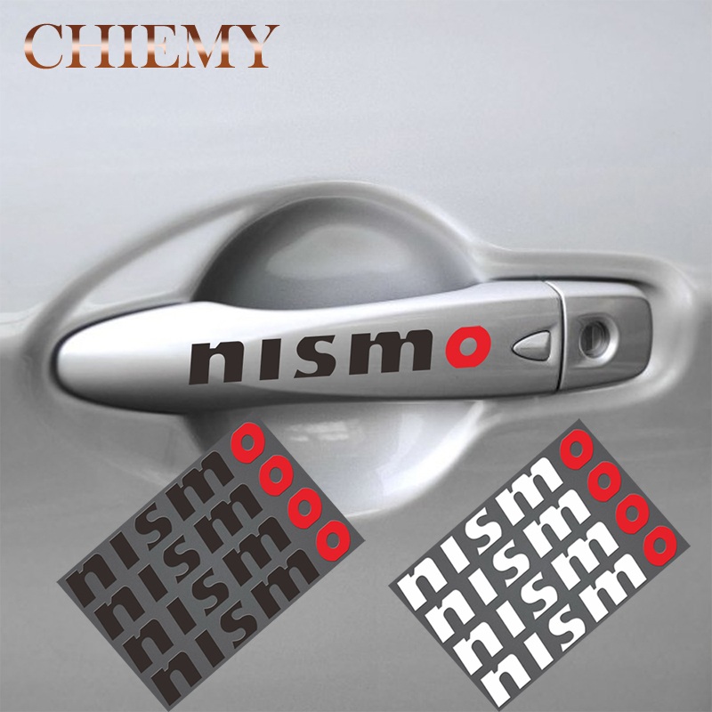 4pcs NISMO Car Door Handle Rear Mirror Window Stickers Auto Decal For Nissan Tiida Sunny MARCH LIVINA TEANA X-TRAI Car Styling