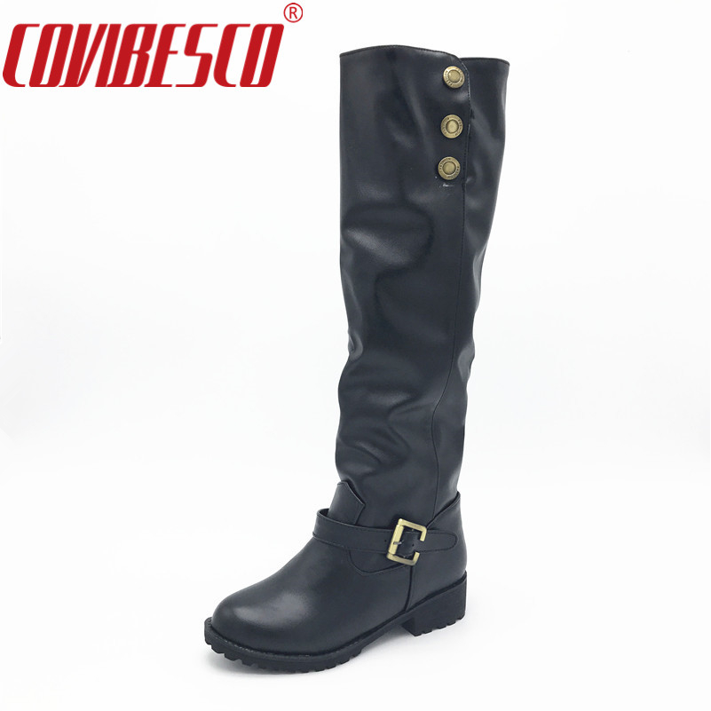 New Arrival Fashion Women Knee High Boots Low Heels Comfortable Autumn Winter Motorcycle Boots Female High Shoes Boots new casual business leather mens messenger bag hot sell famous brand design leather men bag vintage fashion mens cross body bag