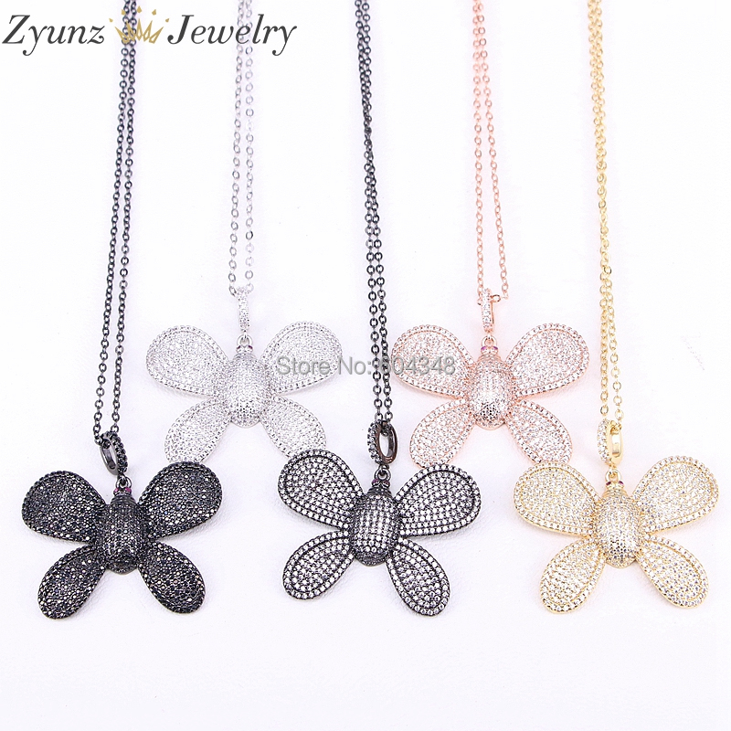 5 Strands ZYZ298 1707 Link Chain Micro Paved Shining CZ Crystal Butterfly Pendant Necklace for Women